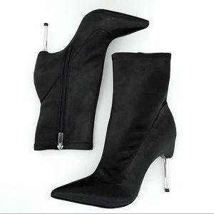 BCBGMAXAZRIA Jolie Black Satin Metal Stiletto Boot